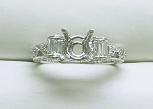 sb-2905 Extremely detailed baguette & round stone platinum engagement ring