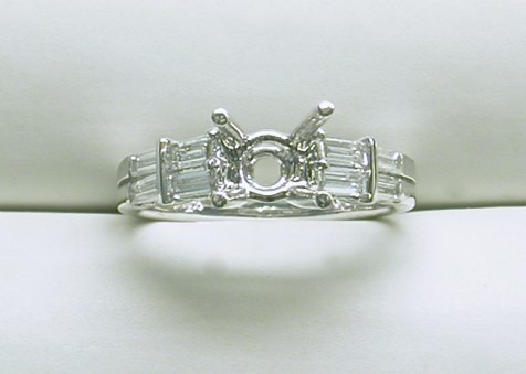 sb-2910 Platinum baguette diamond engagement ring mounting