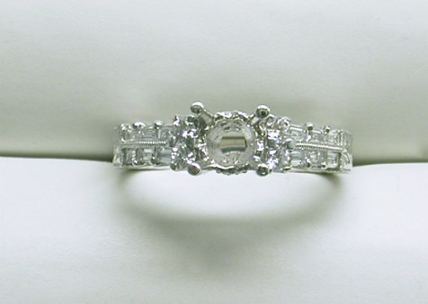 sb-2911 Engraved platinum diamond engagement ring with baguettes & round diamonds