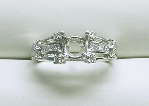 sb-2938 Princess cut & round stone platinum diamond engagement ring