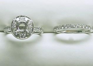 sb-2999 Diamond engagement ring & wedding band set, 18K white gold