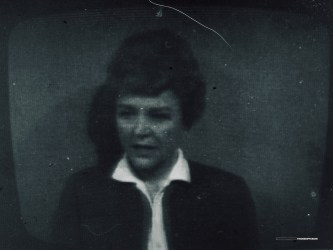 Freak weather conditions give us this excellent picture of Noele Gordon on announcing duty in 1964