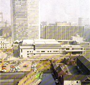 1973 photo of the rear of the new ATV studios off Broad Street in Birmingham