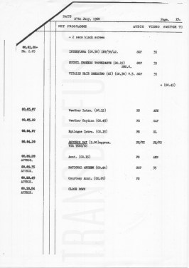 ATV London routine sheet for Saturday 27 July 1968