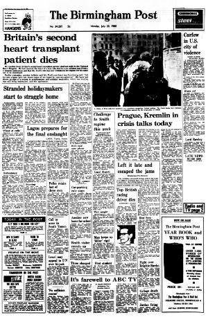 Birmingham Post front page
