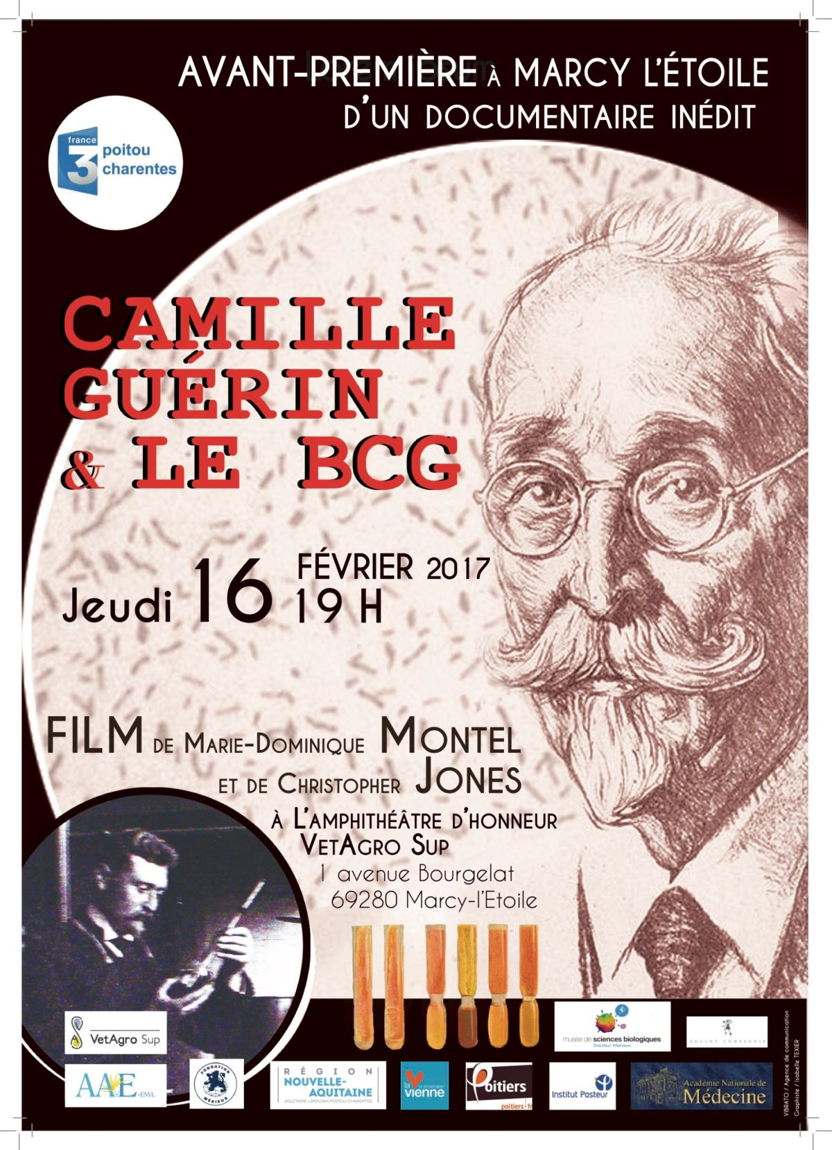 Affiche de la projection du documentaire Camille Guérin et le BCG