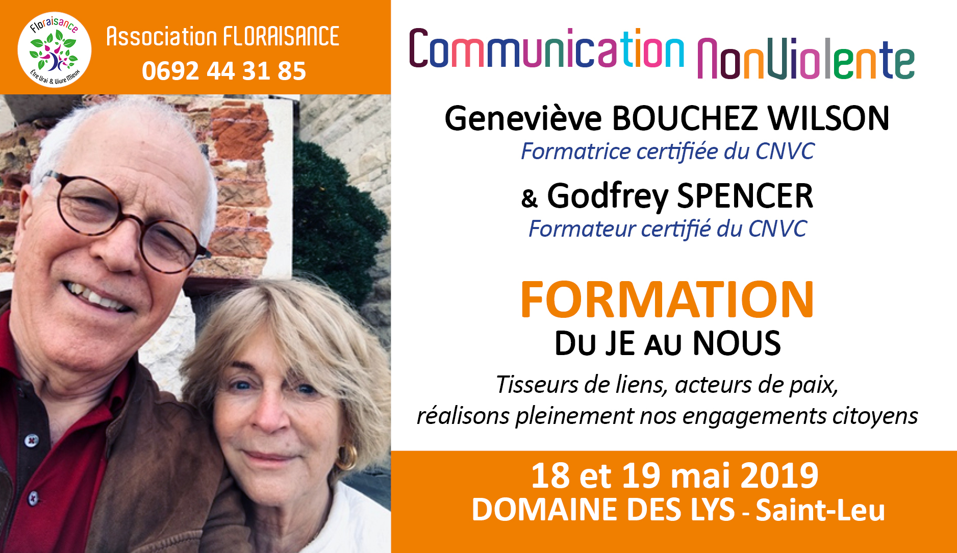 affiche Geneviève et Godfrey - formation 18 19 mai