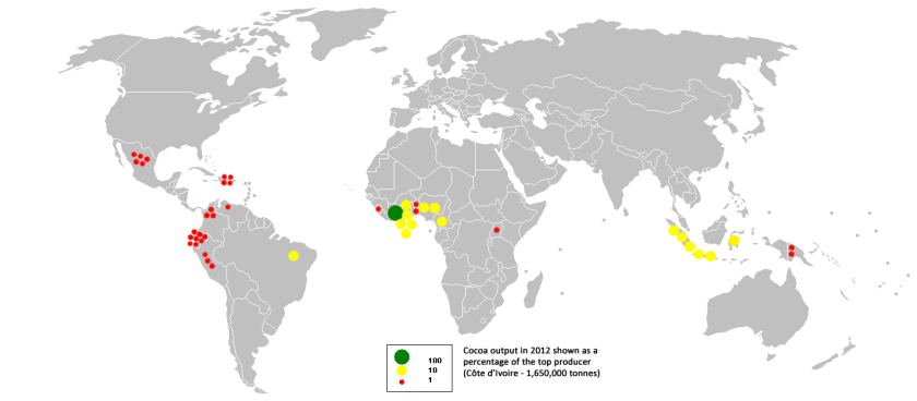 cocoa production map - chocolate