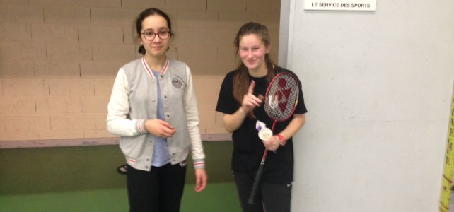 Résultats Badminton Duos MF 25 janvier 2017