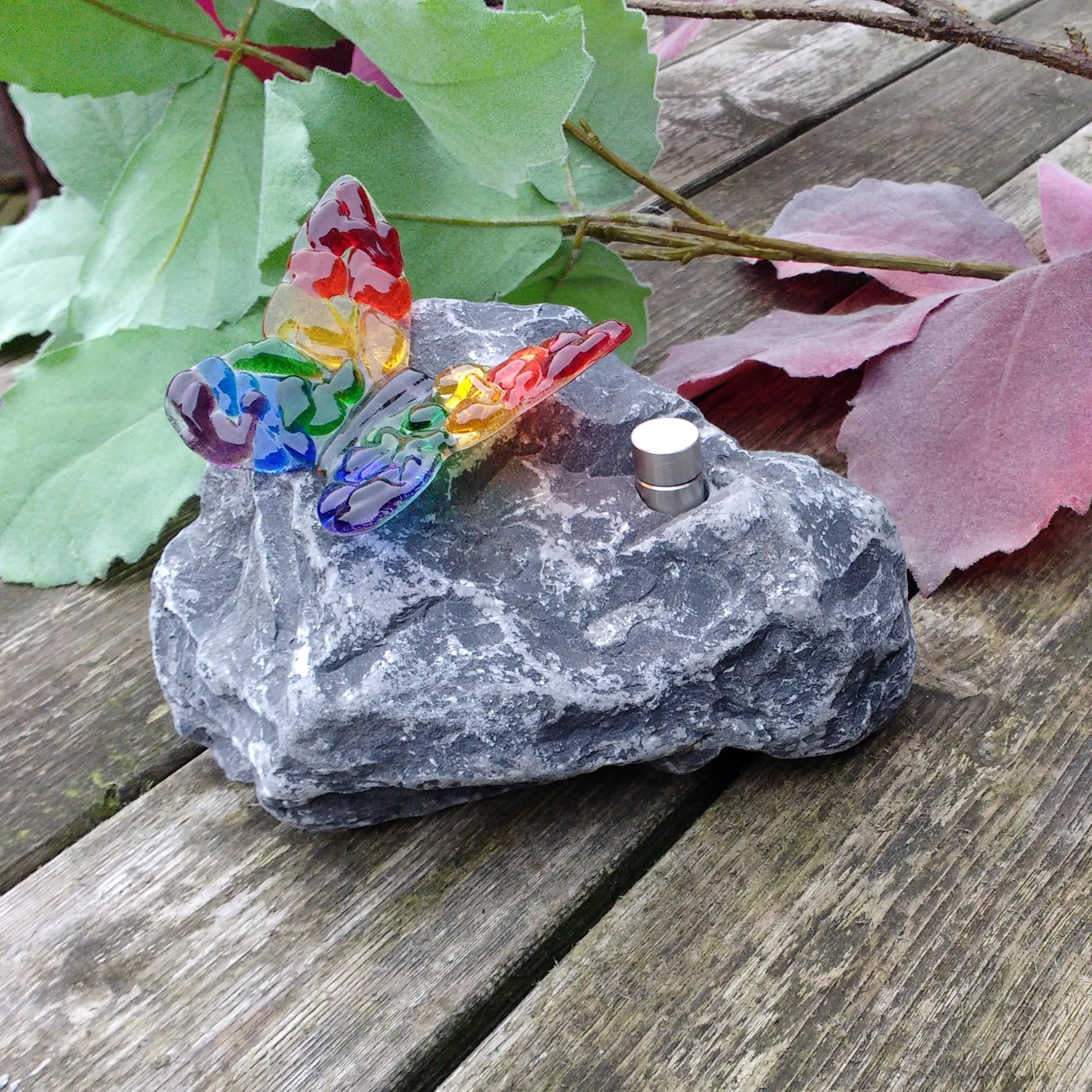 assteen met regenboog vlinder