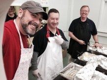 Our Knight servers Mike Walsh, Jim Cosgrove and Clete Beckel were ready to dish out the vittles.