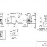 6P6C RJ12 RJ18 RJ25 Top Entry 6u Flanged PCB Modular Jack