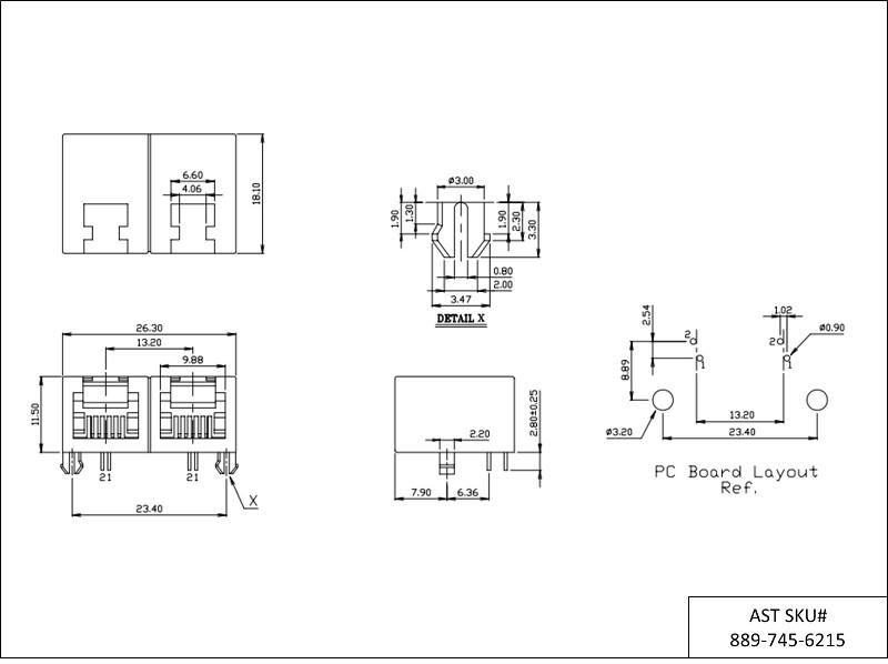 AST Labs 6P2C RJ11 1x2 Port Ganged PCB Modular Jack RJ11