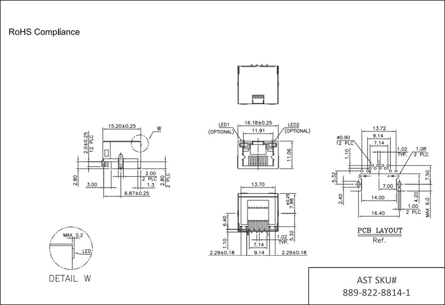 AST Labs 8P8C RJ45 Side Entry Flat Pin Shielded Low Profile 6u