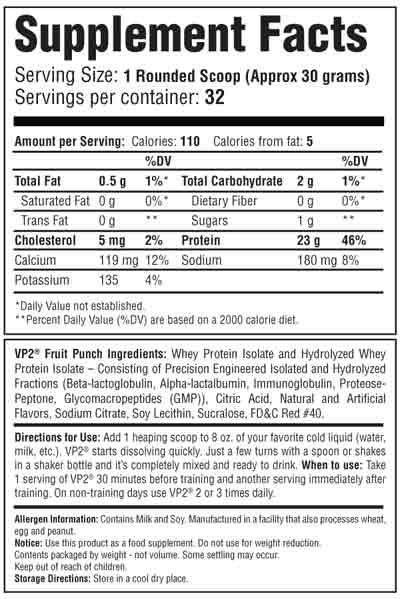 VP2 Whey Isolate Fruit Punch Supplement Facts