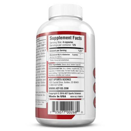 Best Glutamine Supplement - GL3 750 L-Glutamine Caps - Supplement Facts