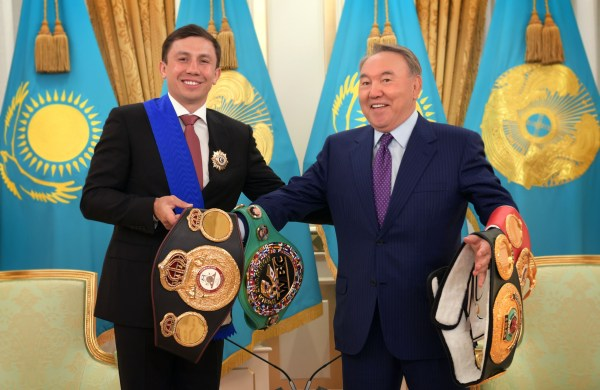 Kazakh President Meets With Boxing Champion Gennady