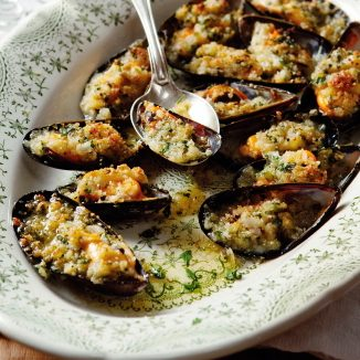Vitlöksgratinerade musslor