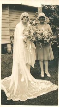 Mollie Callcott nee Joy and her bridesmaid Nellie Parr - Wedding 1929