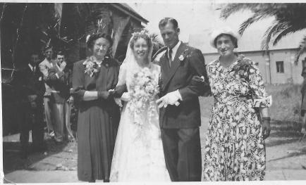 Wedding of Mum and Dad - Joan Callcott and Ross Adams with grandmother Edith Joy nee Hicks and mother Mollie Callcott nee Joy