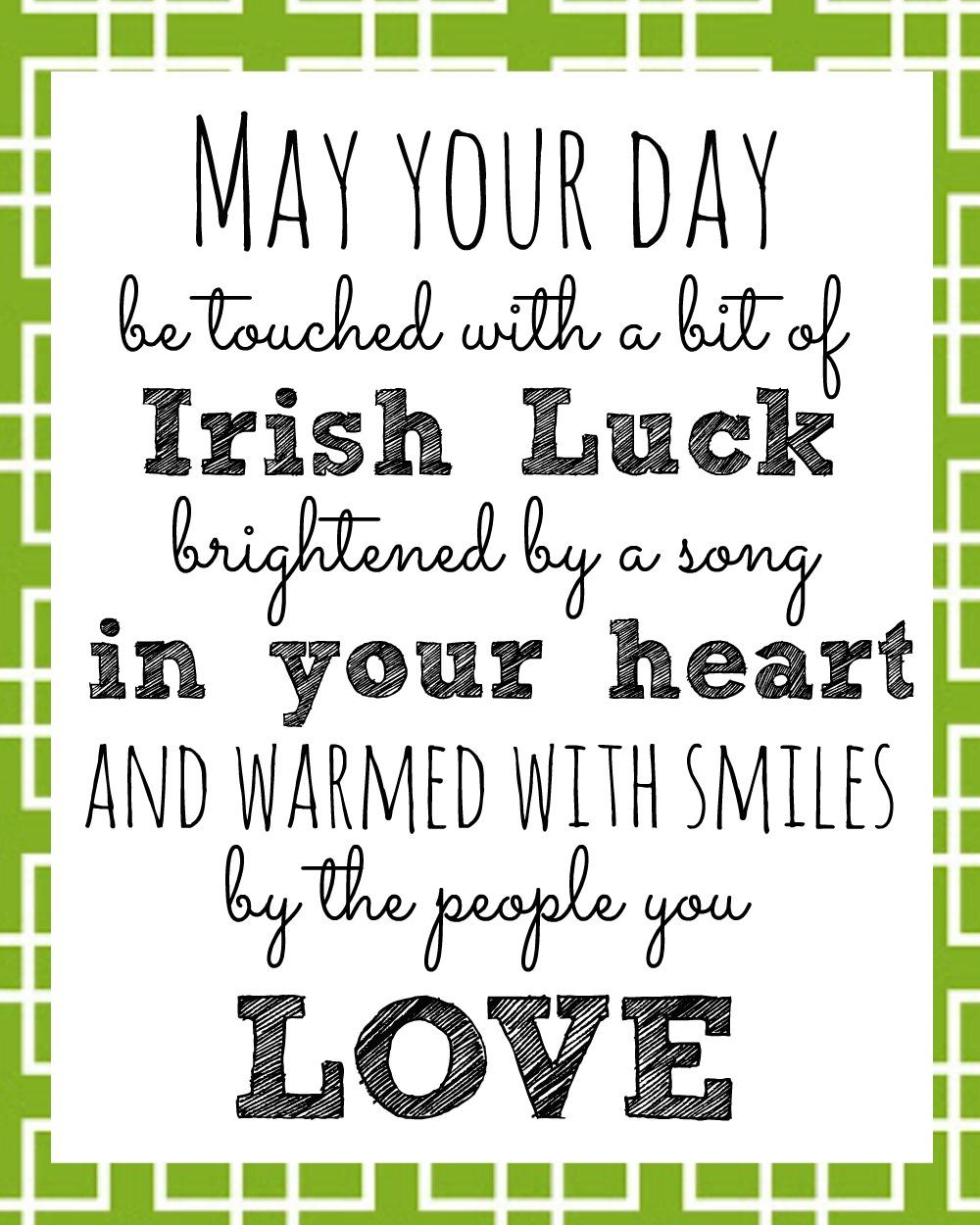 Irish Blessing Printable for St Patricks Day