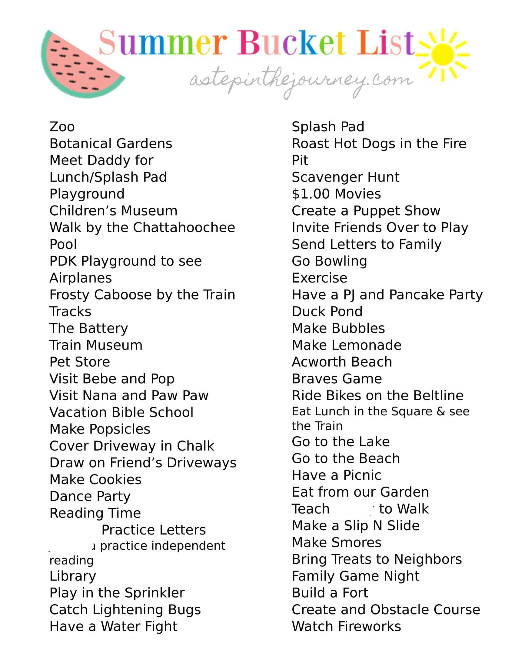 Bucket List For Kids