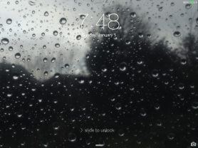 """A Preview of the Wallpaper """"Raindrops on the Glass"""" on the 1st Generation iPad mini - Landscape Mode"""