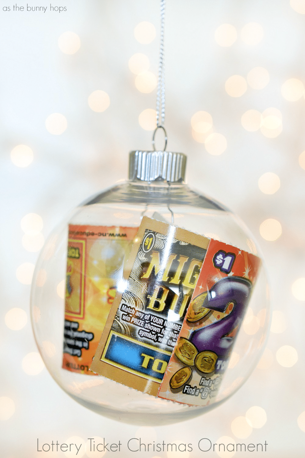 Lottery Ticket Christmas Ornament As The Bunny Hops