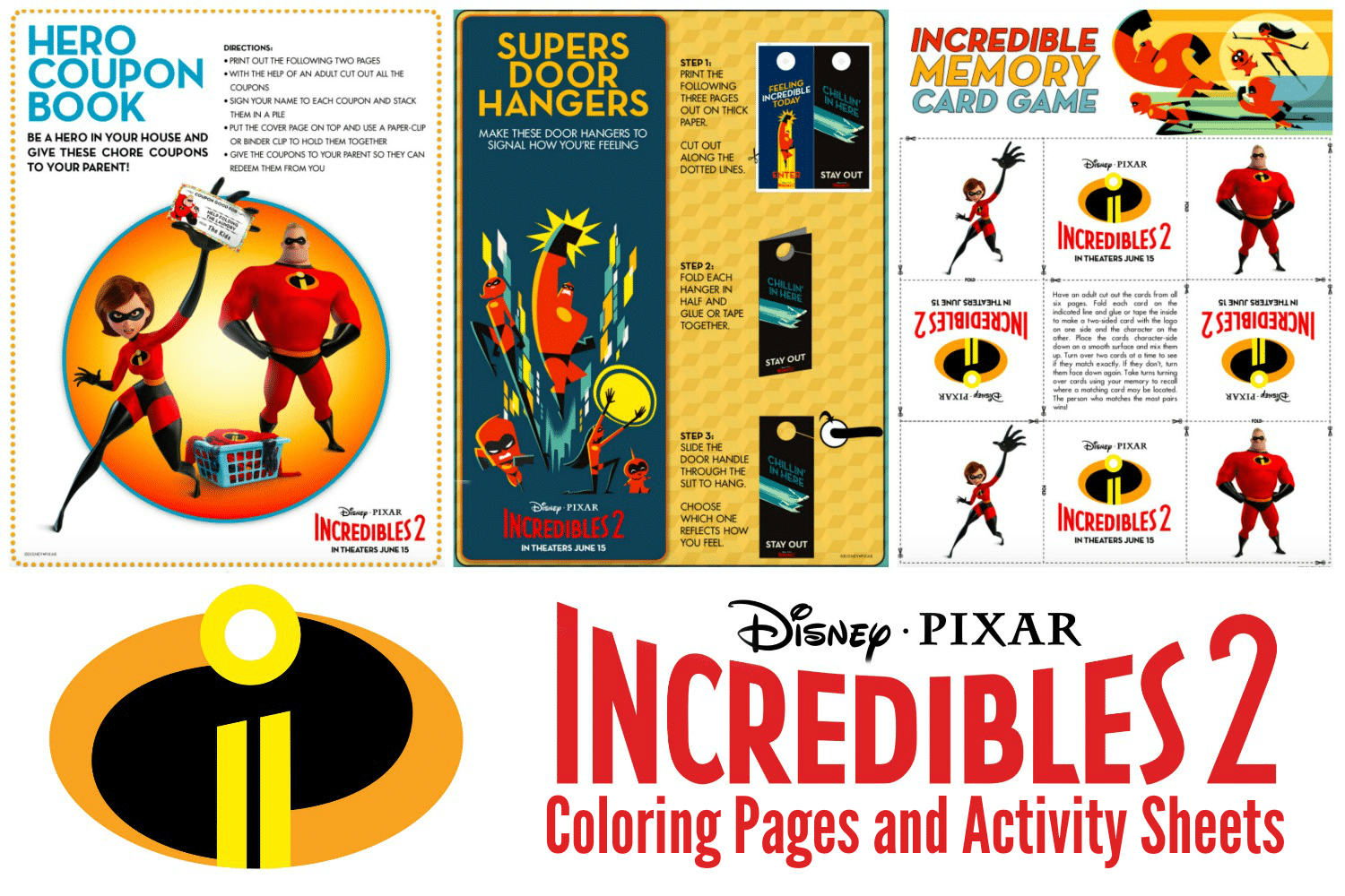 Incredibles 2 Coloring Sheets And Activity Pages As The