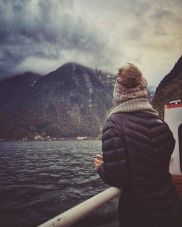 Riding the ferry boat from the train station across the lake to Hallstatt