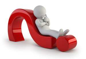 A white 3-d person rests on a 3-d question mark to represent asking dental patient questions when they have complaints