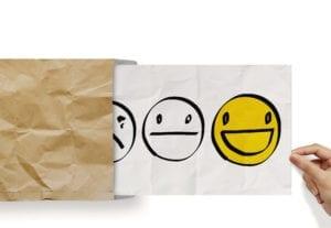 A smiley face represents a happy patient
