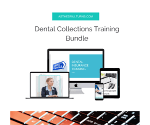 four separate training products for the dental front desk included in the dental collections training bundle