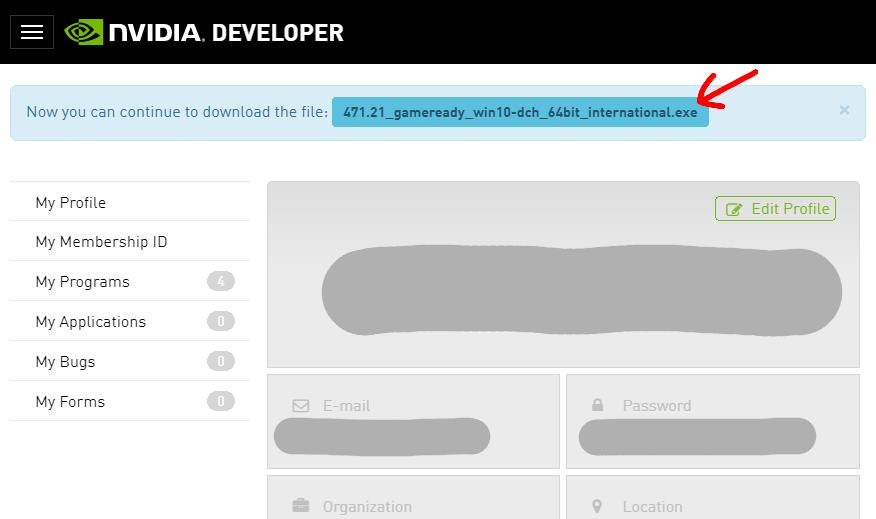上部のファイル名をクリックすると、CUDA on WSL対応ドライバーがダウンロードできます