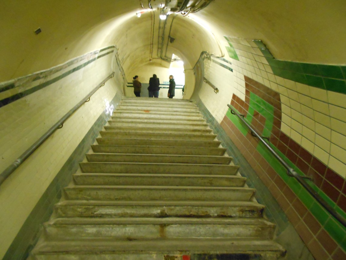 Aldwych Station Tour - view of the stairs inside Aldwych tube station