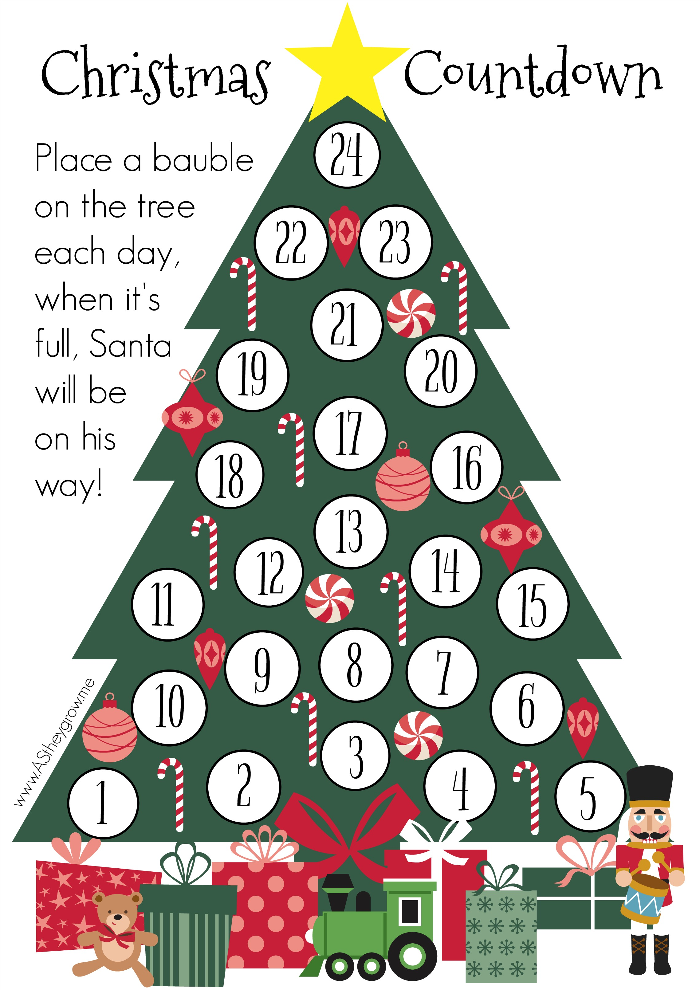 Christmas Count Down.Crafty Christmas Countdown Free Printable As They Grow