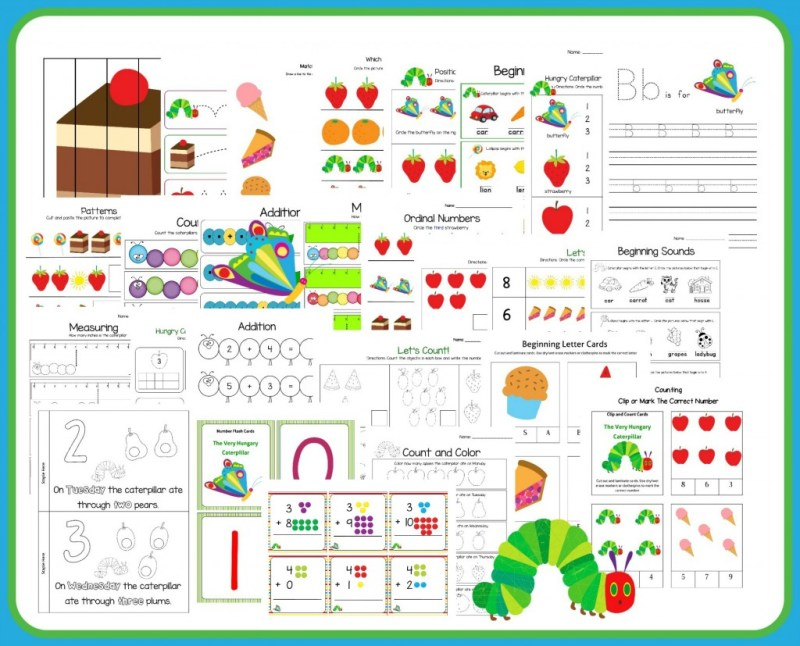 The Very Hungry Caterpillar Printable on Addition 9 Worksheets