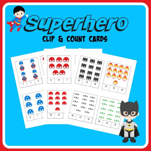 FREE Superheroes clip & count cards