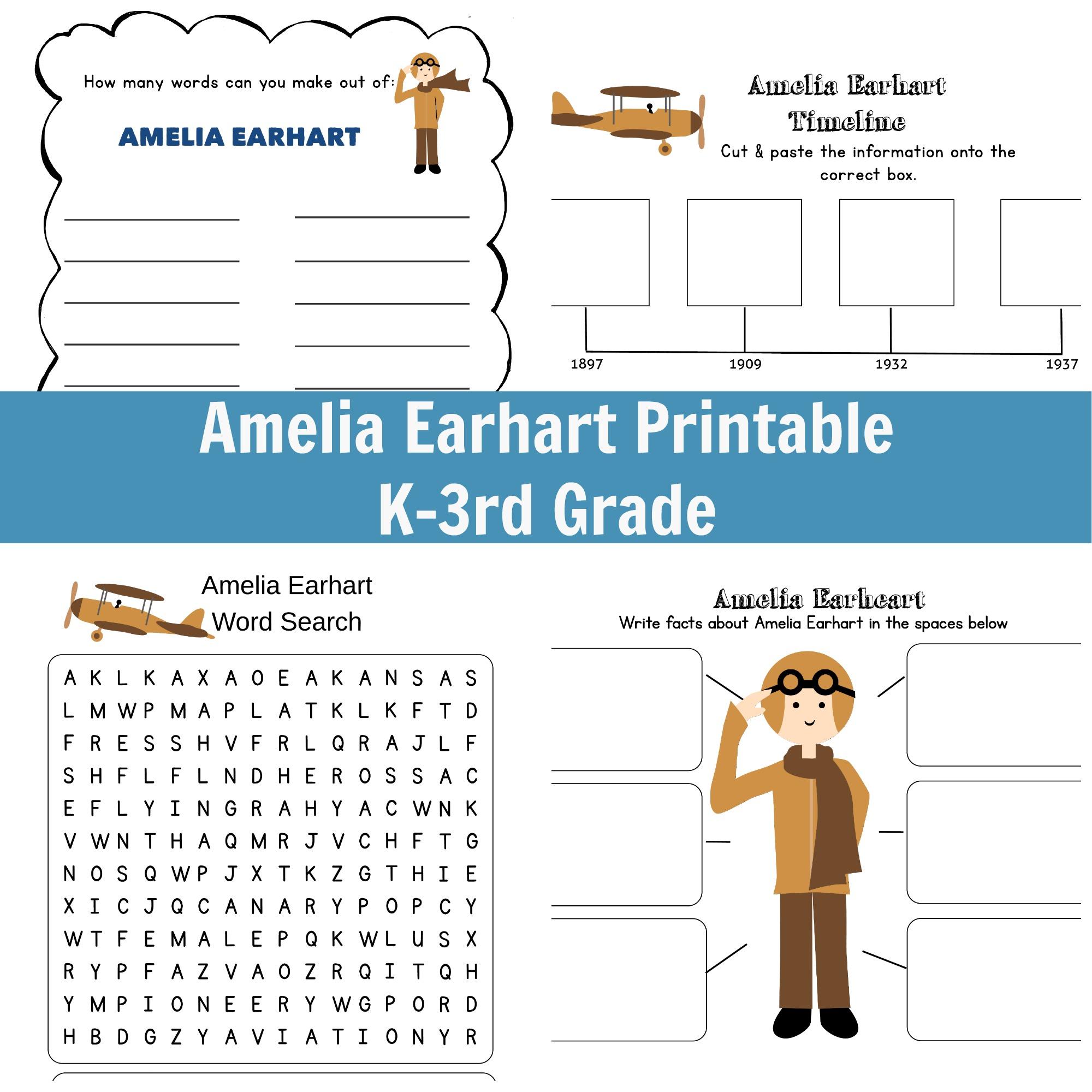 Amelia Earhart Printable - Grades K-3 [ 2000 x 2000 Pixel ]