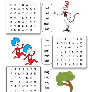 Dr. Seuss CVC Word Search