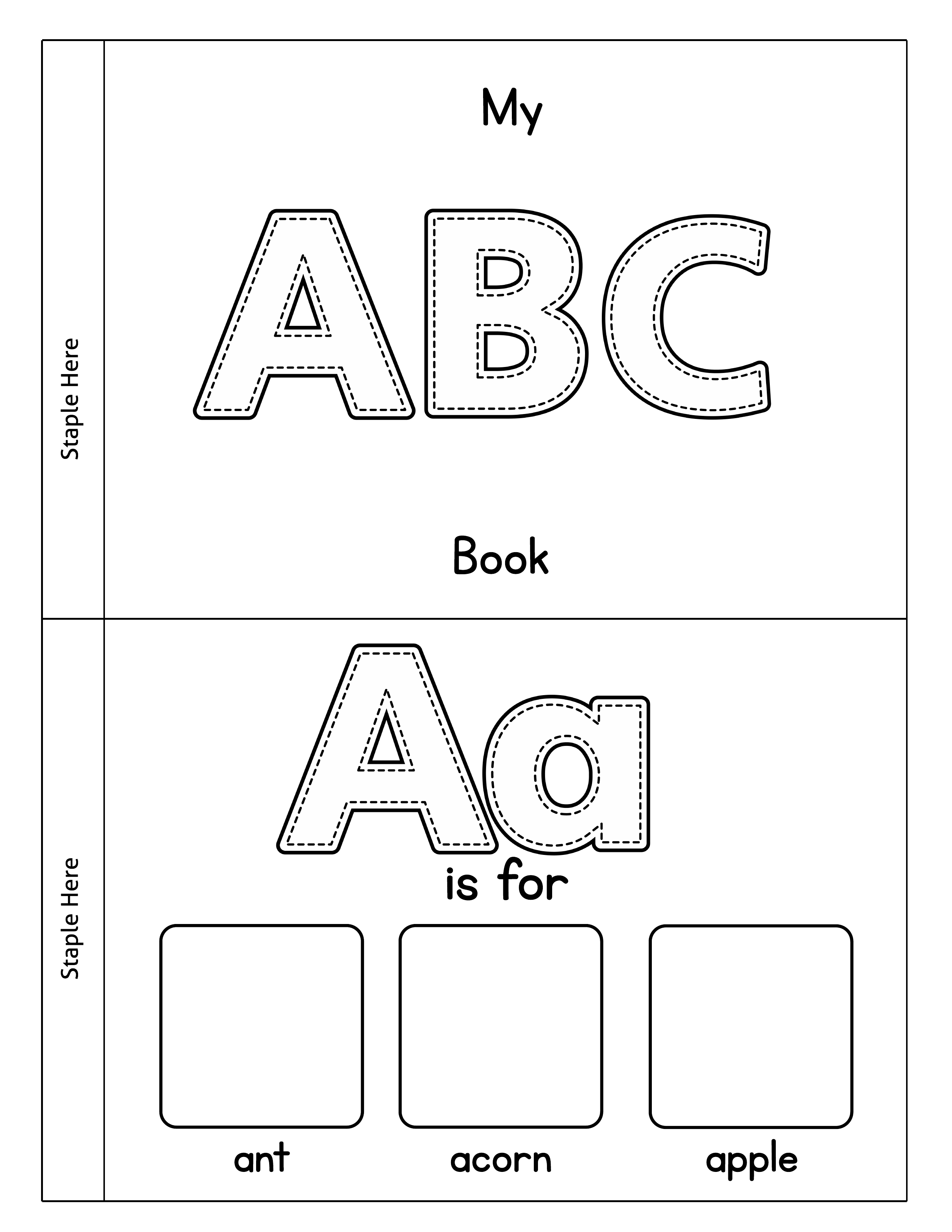 picture about Abc Book Printable named Printable Alphabet Guide - Minimize, Shade Paste