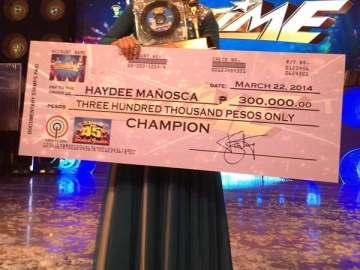 Stars on 45 grand winner Haydee Manosca