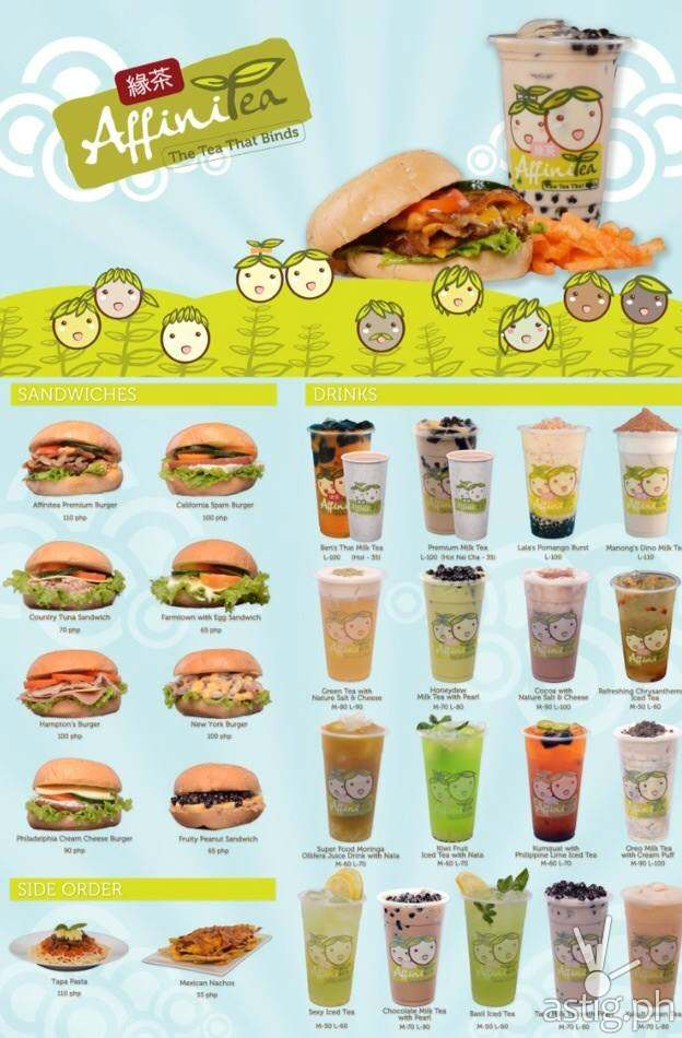 AffiniTea menu