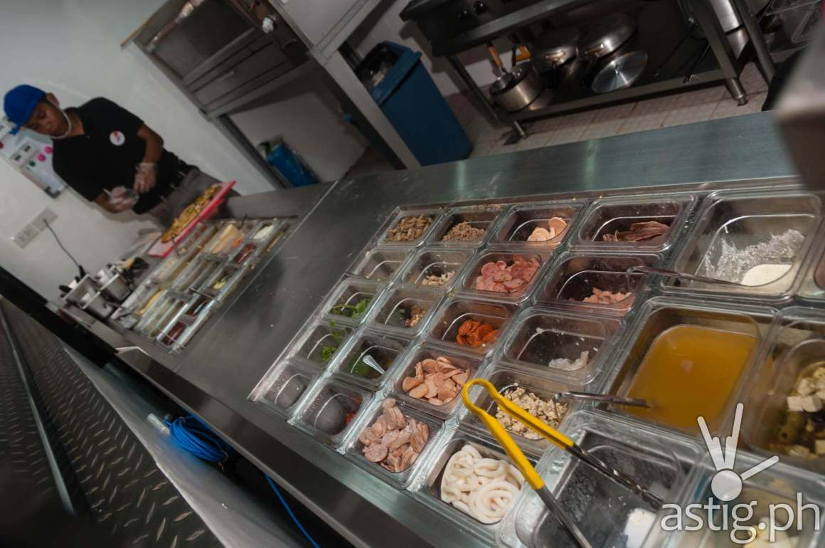 Mad for Pizza offers 40 different toppings that you can choose from to customize your pizza