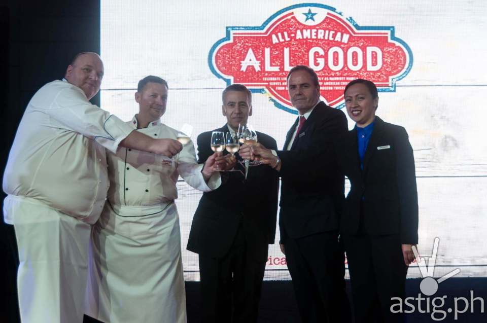Marriott Hotel Manila General Manager Brendan Mahoney toasts with executives at the launching of 'All American, All Good'