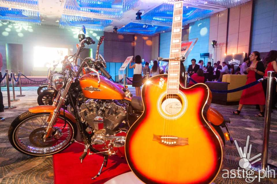 Harley Davidson motorbikes and RJ Guitars at Marriott Hotel Manila