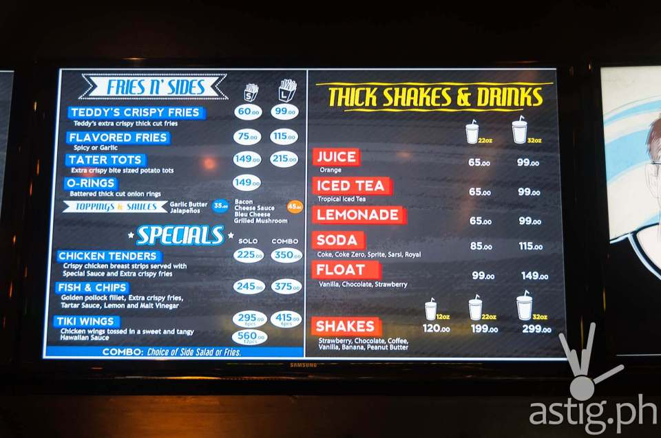 Teddy's Bigger Burgers Philippines sides, specials, and drinks menu with price