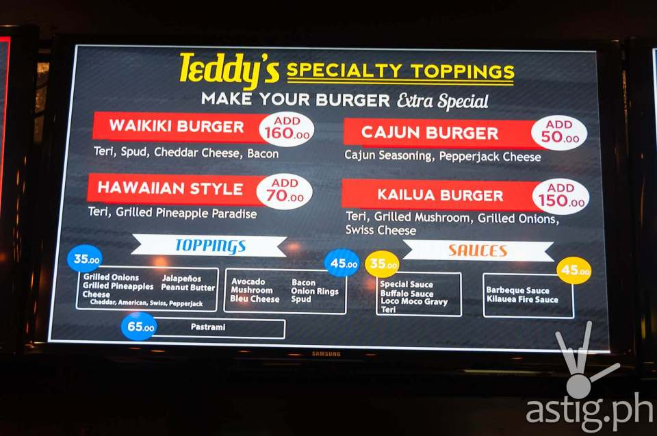 Teddy's Bigger Burgers Philippines add-on menu with price