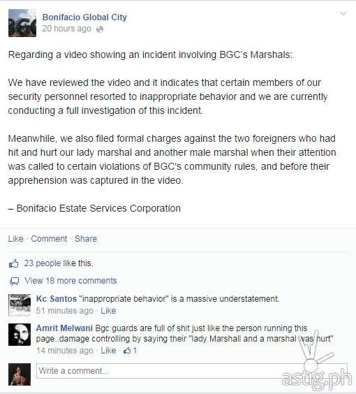 Bonifacio Global City's official statement on the video showing marshals beating up and arresting two Englishmen