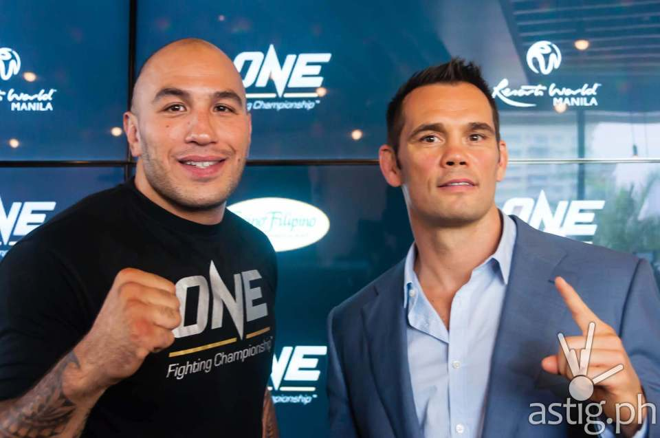 "Rich Franklin and Brandon ""The Truth"" Vera at the ONE FC press conference held in Manila, Philippines"